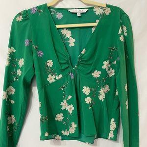 Intermix Green Floral Silk Puff shoulder Blouse 2